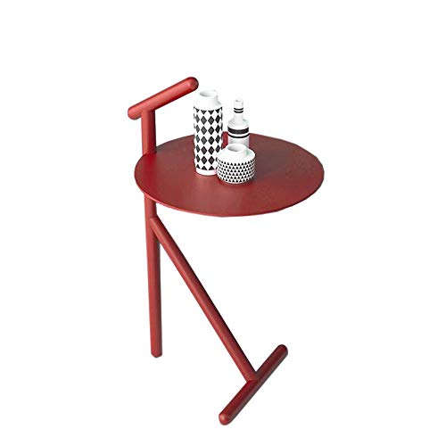 Jcnfa-Tische Kreative Tische, Sofatisch, Stilmöbel, Geeignet for Kleine Größe, Griff Beistelltisch (Color : Orange red, Size : 14.56 * 14.56 * 27.55in)