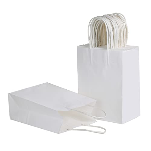 [50 Bags] 6 X 3.1 X 8.3 inch Small Kraft Paper Bags with Handles deal for Shopping, Retail, Party, Craft,Packaging, Boutique, Goody and Merchandise Bag (White)