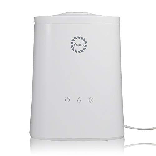 Qurra(Mois Vinie Light) 抗菌加工 アロマ 超音波加湿器 大容量 4.5L 上から注水 次亜塩素酸水 対応 タッチパネル 300ml/h 静音 アロマ PSE 3R SYSTEMS ホワイト
