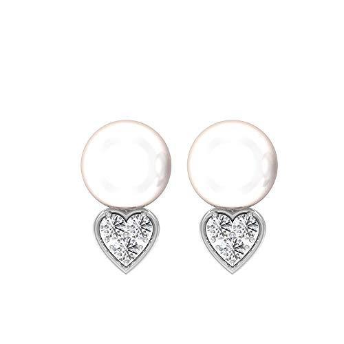 Pendientes de gota de perlas de 12 quilates, con certificado IGI de 0,35 quilates, con forma de corazón, IJ-SI, pendientes de piedras preciosas de diamante, 18K Oro blanco, Par