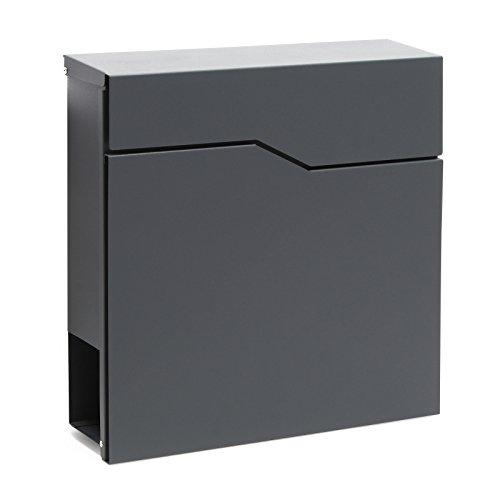Buzón Diseño Moderno V19 Antracita Compartimiento Periódico Acero recubierto en polvo