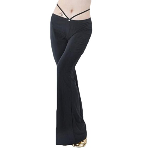 ZhiYuanan Donna Yoga Pantaloni Danza del Ventre Pantaloni Allenamento Abiti Danza del Ventre Nero