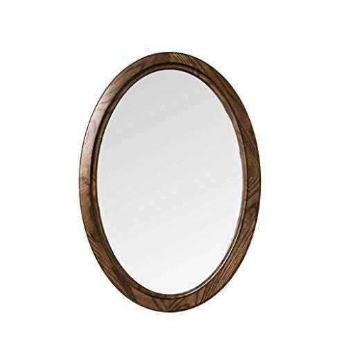 GAXQFEI Maison Décoration Mural Miroir Ovale Demi-Long Miroir, Bois Massif Miroir Décoratif de Style Japonais Grand Maquillage Miroir Haute Définition Miroir Mur Miroir Miroir Miroir Maison Entrée Mi