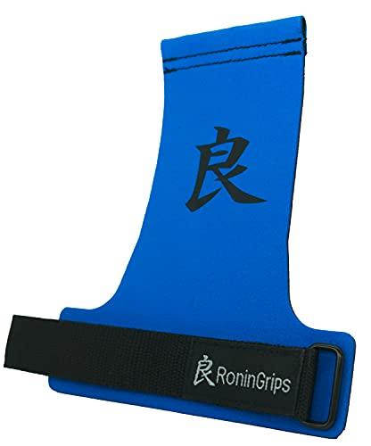 RoninGrips Dragon Sin Agujeros Calleras para Crossfit Proteccion para tu Manos Rápidas transiciones para Hombre y Mujer (Azul, M)