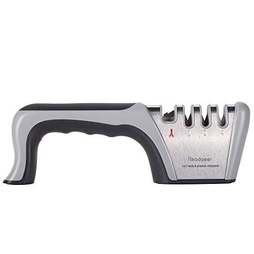 Readaeer 4イン1 ナイフ&はさみ研ぎ器 4段階 プロフェッショナル研ぎツール 滑り止めゴムベース ナイフやはさみに最適