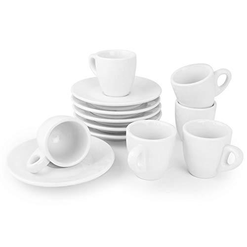 Werbewas Espressotassen, einfarbig weiß, 12-teiliges Set - 6 einfache dickwandige Tassen zweiter Wahl mit passenden 6 Untertellern/Untertassen aus Keramik für Espressos - B Ware