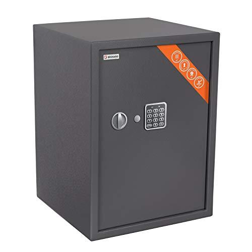 Brihard Business XL Tresor Safe mit Elektronischem Schloss, 50x35x31cm (HxWxD), Titan Grau