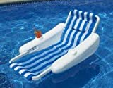66-Inch Sunchaser Striped Blue and White Swimming Pool Floating Cushion Lounge Chair