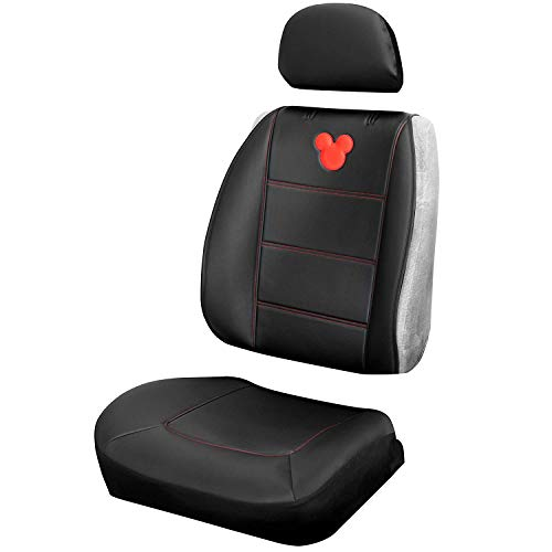 Plasticolor 008672R01 Mickey Mouse Disney Seat Cover Embrodired Logo Premium 3 Piece Sideless Car Truck or SUV Seatcover with Cargo Pocket