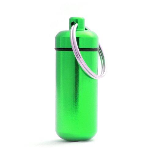 Pillen-Dose, Pillen-Box, Aluminium-Kapsel, Schlüssel-Anhänger mini, wasserdicht, Farbe: grün, Höhe: 45mm