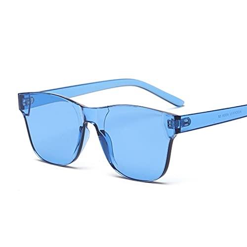 PPCLU Clear Squareless Rimless Sunglasses Mujeres Transparente Color Gafas de Sol Femenino Retro Visera Espejo Claro Amarillo Rosa (Lenses Color : Blue)