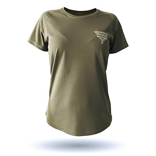 GDMI Ginnastica DINAMICA Militare Italiana T-Shirt Tecnica Donna, Girocollo Maniche Corte con Stampa sul Retro Effetto Rovinato e Ricamo Altezza Cuore TG.M
