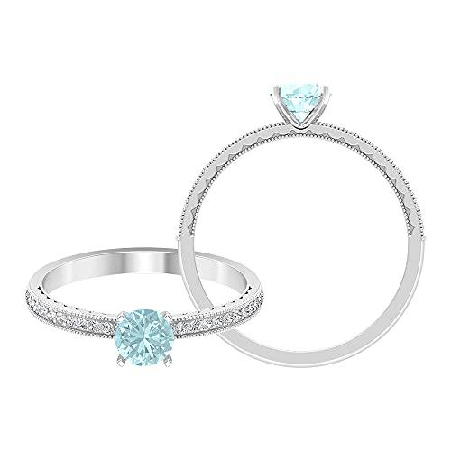 Anillo solitario de topacio azul Londres de 5 mm, 1/3 quilates HI-SI diamante lateral, anillo de compromiso milgrain dorado, 14K Oro blanco, topacio azul - london, Size:EU 46