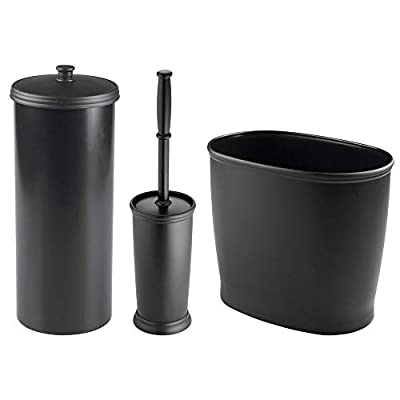 mDesign Modern Plastic Bathroom Storage and Cleaning Accessory Set - Includes Bowl Brush, 3-Roll Toilet Paper Canister with Lid, Wastebasket Trash Can/Garbage Bin
