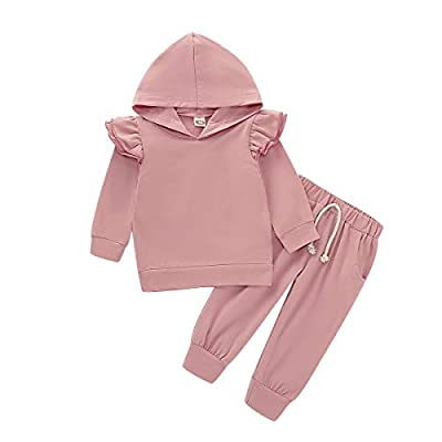 Baby Girls Long Sleeve Hoodie Sweatshirt Tops Pants Set 2Pc Toddler Hooded Shirt Fall Coming Home Outfit Clothes (Pink, 12-18 Months)