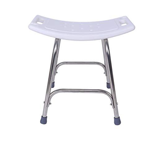 ZXY-NAN Bathroom Wheelchairs Shower Chair Bath Seat, Height Adjustable Stainless Steel Bathroom Bath Chair PE Bench Plate Curved Design,Bear 200KG Size -46x40x48cm,White Bath Stool,Bathroom