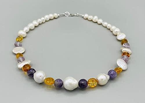 Collar de perla barrocas amatista y citrina amarilla, plata 925, joyas artesanales de piedras naturales, estilo moderno, regalo para mujer
