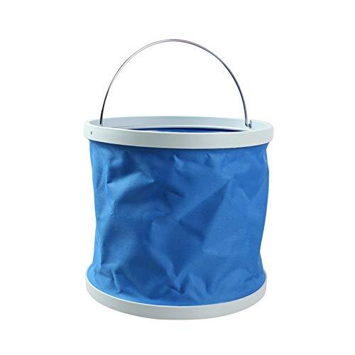 HIs Camping al aire libre 10L impermeable lona multifunción portátil plegable cubo de lavado del coche cubo plegable barril