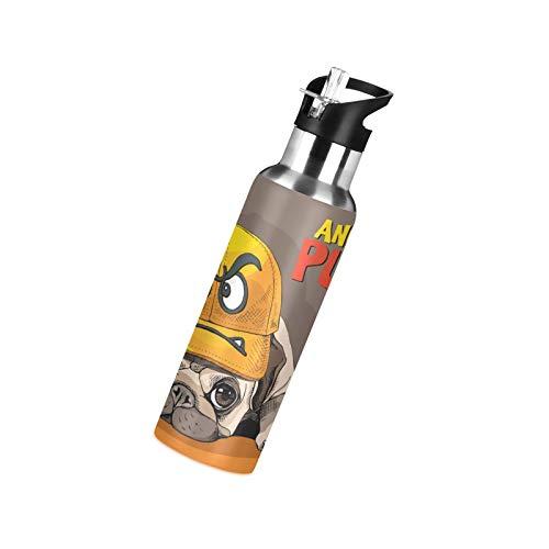 litulituhallo Botella de agua de acero inoxidable con pajita, divertida caricatura de emoticono aislada botella de agua deportiva 600 ml