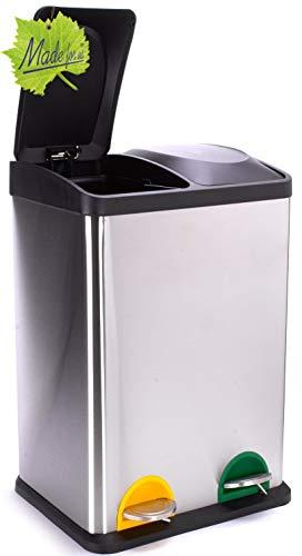 Made for us 40 L Edelstahl Tret-Abfalleimer 2x20 L Mülleimer 2-fach Mülltrennung 2er Müll-Trennsystem 40 Liter Abfallsammler Duo-Treteimer mit Deckel