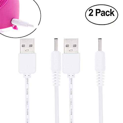 For SOLO Mio Sonic Face Cleanser and Massager Brush Charger 3.3FT Replacement High Performance Charging Cable for Solo Mini Sonic Face Cleansing Brush (2 White)