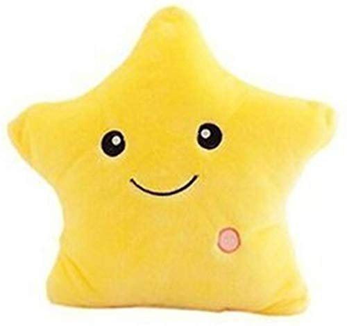Lelestar LED Star Pillows Glowing Luminous Light Up Soft Flashing Light Cushions Wonderful Nursery Room Pillows Kids Plush Toys Christmas Halloween Party Decorations (Yellow)