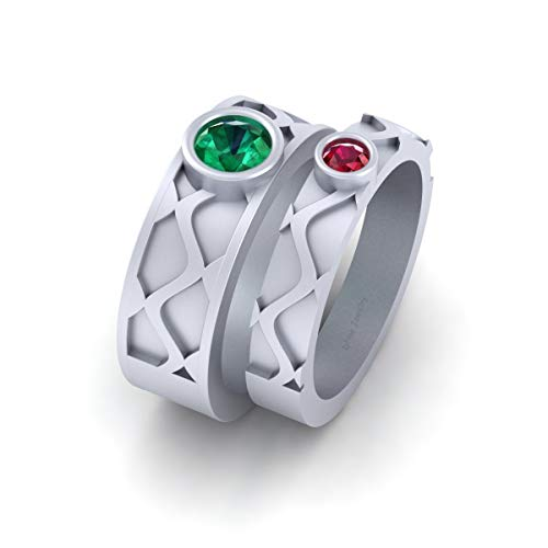 Super Villain Joker and Harley Quinn Inspired Wedding Band Set Solid 925 Sterling Silver Matching Couple Bands