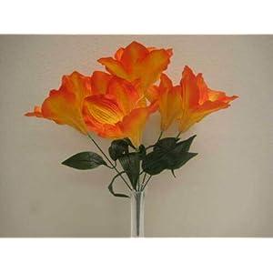 16″ Bouquet 2 Bushes Orange Amaryllis Artificial Silk Flowers LivePlant