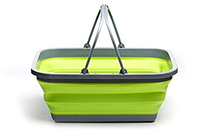 ROADIE Collapsible Tub with Handle – 29 L Portable Outdoor Picnic Basket/Crate - Foldable Shopping Bag - Space Saving Storage Container