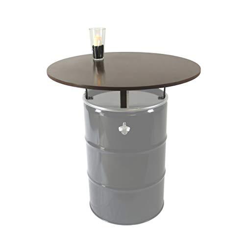 Rogge´s RelaxGrill Stehtisch - Bausatz für 210L-Ölfass (Fass Nicht enthalten), runde Holz-Tischplatte d = 100 cm mit 4 verzinkten Stahlhalterungen
