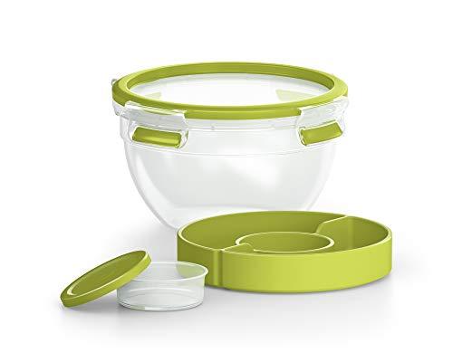 EMSA Clip&GO Food Boîte à Salade Ronde 2,6 L + 2 Compartiments Vert Conservation hermétique Transport N1071300, 2,6L