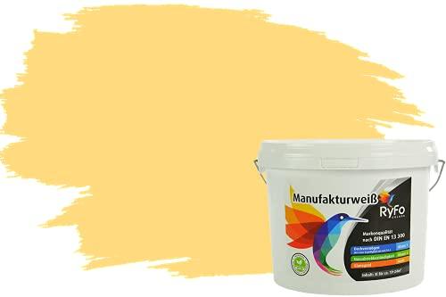 RyFo Colors Bunte Wandfarbe Manufakturweiß Butterblume 3l - weitere Gelb Farbtöne und Größen erhältlich, Deckkraft Klasse 1, Nassabrieb Klasse 1