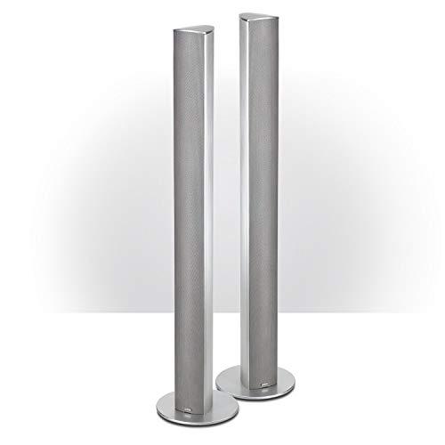 Magnat Needle Alu Super Tower I 1 Paar 2-Wege Säulenlautsprecher I Schlanke Design-Lautsprecher mit elegant gebürstetem Aluminiumgehäuse – Silber