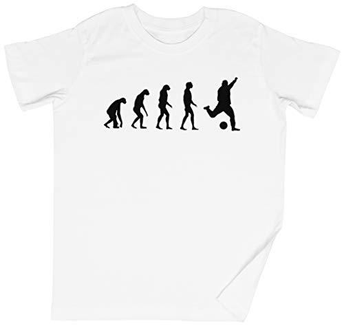 Evolucionado A Tocar Fútbol Blanca Niños Chicos Chicas Camiseta Unisexo Tamaño XS White Kid