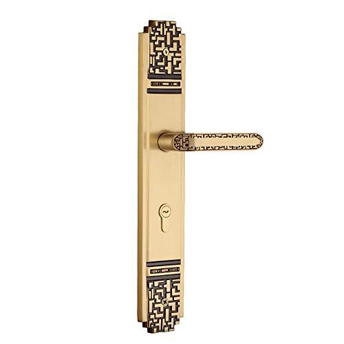 Manija de puerta minimalista Dormitorio interior de la vendimia de la manija de bloqueo sólido sitio de madera de la puerta cerradura de la puerta y la manija completa Cobre Tirador de puerta