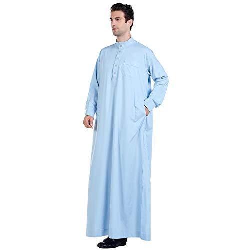 Dnliuw Männer Einfarbig Mittlerer Osten Ramadan Robe im ethnischen Stil, Muslimische Lange Decklacke Abaya Dubai Kaftan traditionelle Kleidung