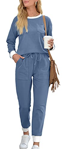 2 Piece Sweatsuit for Women Long Sleeve Lounge Sets Casual Jumpsuits Blue M