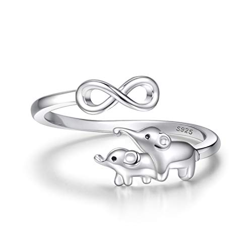 Elephant Mother Daughter Jewelry for Women - 925 Sterling Silver Infinity Love Heart Ring Pendant Necklace Gifts for Mother Daughter (Infinity Ring)