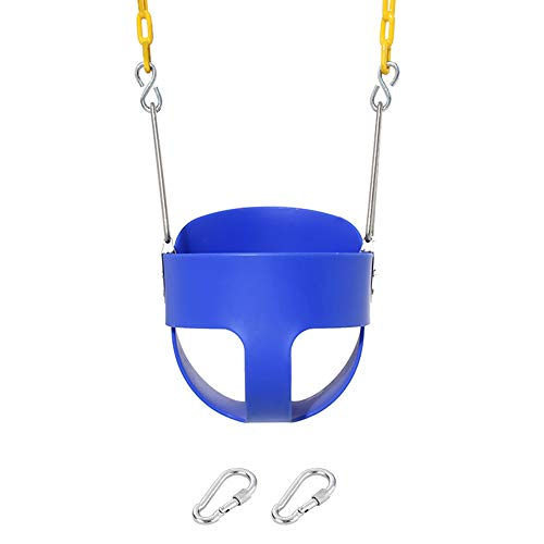 High Back Full Bucket Toddler Swing Seat with Yellow Plastic Coated Swing Chains Fully Assembled Swing Basket with Snap Hook and Triangle Dip Pinch Protection - Heavy-Duty Swing Baby Seat