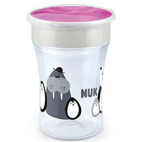 NUK Magic Cup - Bicchiere per imparare a bere, 8 mesi, 230 ml, con bordo a 360°, senza BPA, monocromo animale (grigio e viola)
