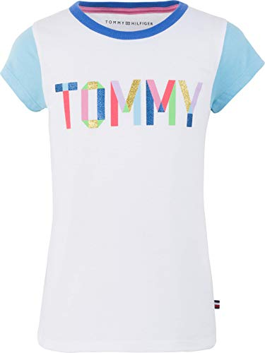 Tommy Hilfiger Big Girl's Big Girls' Tee Shirt, tommy taupe white, L12/14