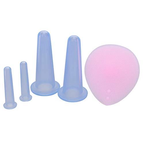 EXCEART 4 Pcs Silicone Tasses pour Le Visage Anti Cellulite Ventouses à Vide Visage Corps Soins de La Peau Ventouses Massage Facial Ventouses avec Mini Brosse de Nettoyage Bleu