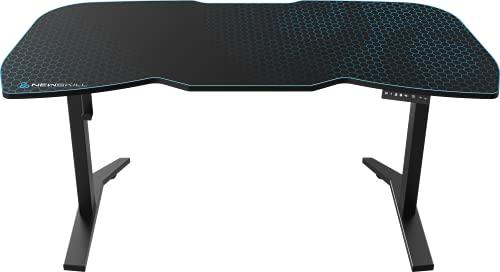 Newskill Tanaris RGB Pro - Mesa Gaming con Altura Ajustable (Motor Hidráulico), Superficie XXL Texturizada en Carbono y Perfiles con Memoria