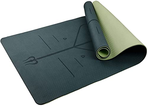 Esterilla Yoga esterilla fitness esterilla deporte colchoneta plegable gimnasia Tapetes de yoga antidesgarro de TPE con correa de transporte para bolsa de yoga, tapete de fitness para entrenamiento en