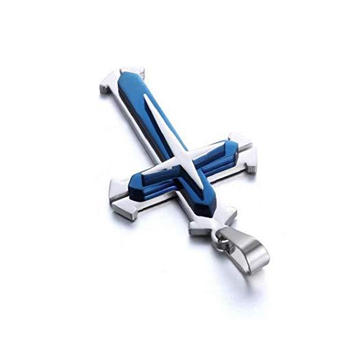 KHHGTYFYTFTY Collar de Cadena de Acero Colgante Cruz Collar de la Manera Unisex Inoxidable para Mujeres y Hombres - Azul