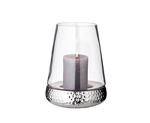 EDZARD Windlicht Bora, gehämmert, Glas mit vernickeltem Keramikfuß (24cm)