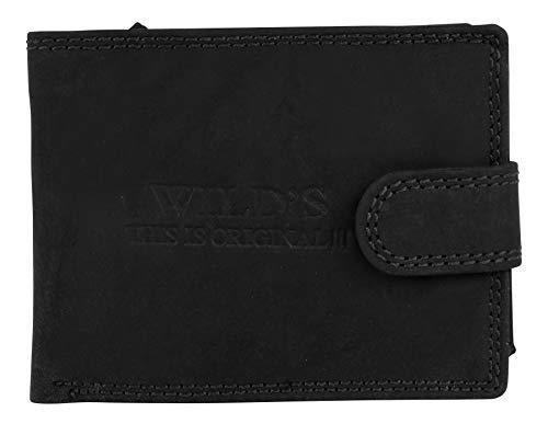 Halal-Wear RFID Herren Portemonnaie Leder Querformat Schwarz - mit Clipverschluss Vintageleder Geldbeutel Portemonnaie Brieftasche W02L (Schwarz)
