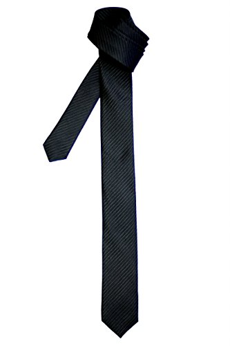 Retreez Corbata fina para hombres con textura de rayas Negro