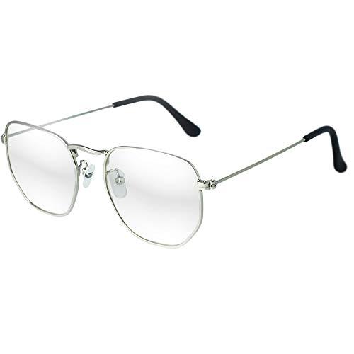Óculos Hexagonal Armação Grau Feminino Masculino Vintage Prata