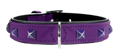 HUNTER SOFTIE KAIRO Halsband für Hunde, Kunstleder, mit pyramidenähnlichen Applikationen,  60, violett